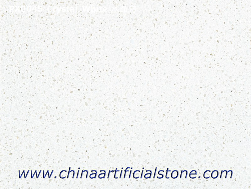 Medium Grain Pure White Artificial Marble Slabs and Tiles Crystal White