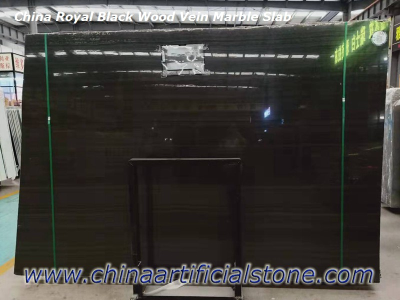 China Royal Black Wood Vein Marble Slab