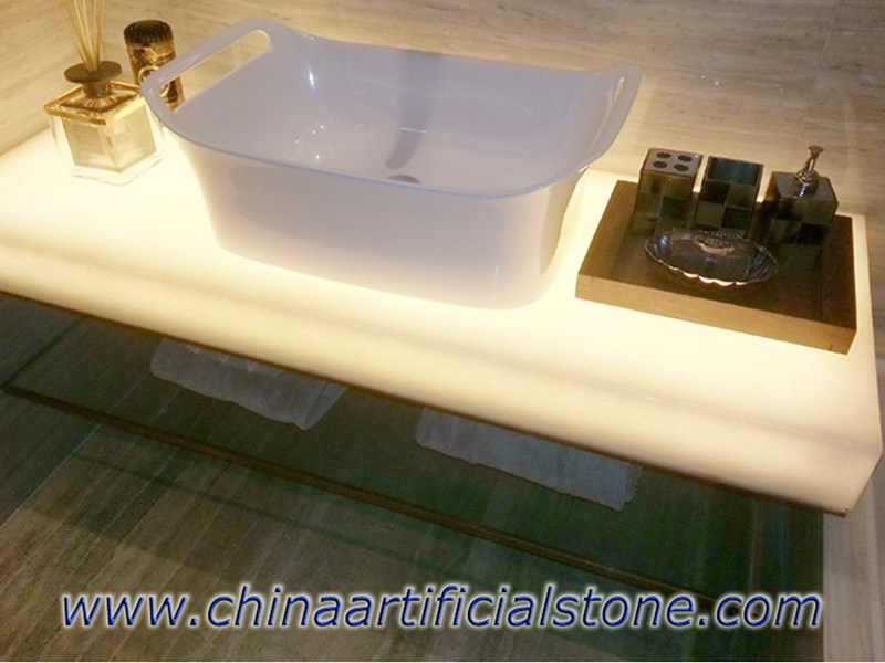 Ash White Glass Backlit Vanity Top